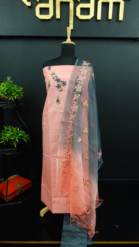 Peach colour jute finish synthetic salwar with organza dupatta | PF729