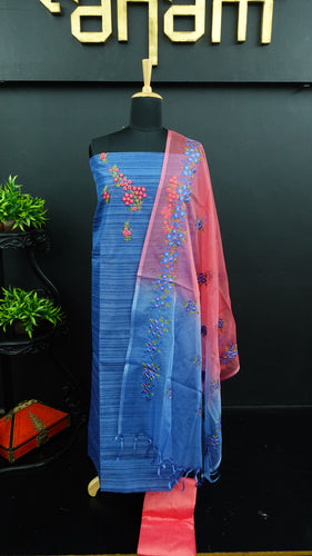 Blue colour jute finish synthetic salwar with organza dupatta | PF728
