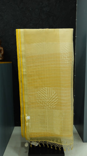 Gold, anitique and cream color combination tissue saree | AJ113