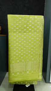 Pista green color combination tissue organza saree | AJ106