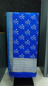 Electric blue color combination kora silk saree | AJ111