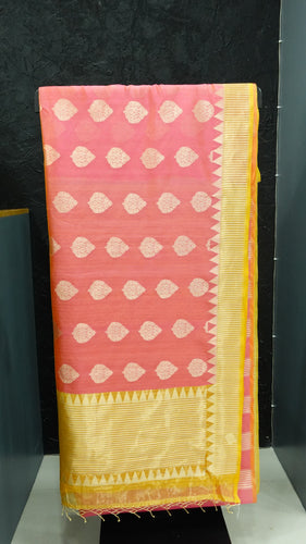 Yellow and pink color combination tissue kora saree | AJ104