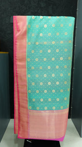 Teal blue and pink color combination kora silk saree | AJ110