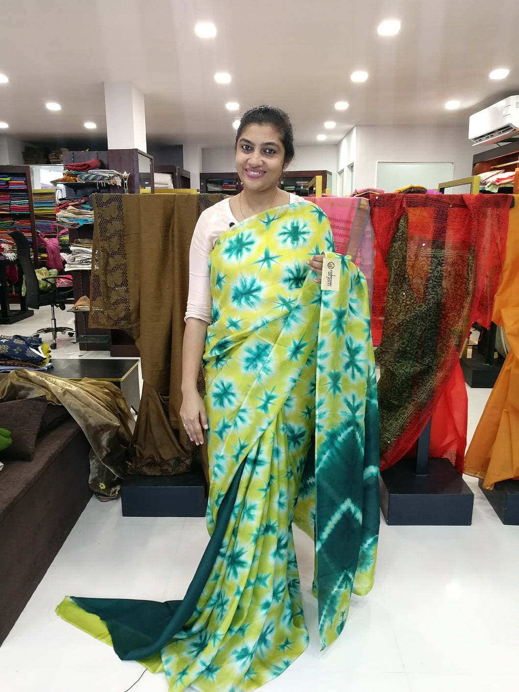Lemon yellow crispy georgette tie and dye saree | GE13