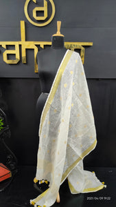 Off-white and gold color combination linen dupatta | AH211