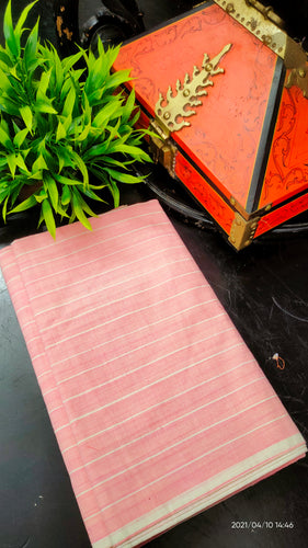 Pink peach and white color combination stripe printed handwoven Chendamangalam saree | SB152