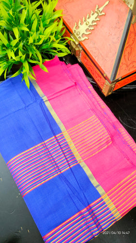 Blue and magneta pink color combination handwoven Chendamangalam saree | SB148
