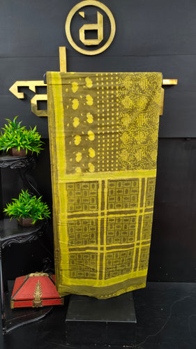 Olive green colour bhagru printed cotton saree | MC288