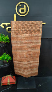 Brown colour bhagru handblock printed cotton saree | MC280