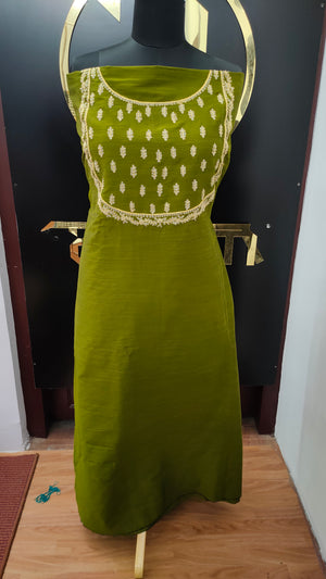 Olive green color embroidered cotton-silk kurtha material | UNSTITCHED | DN125