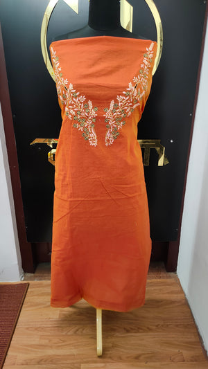 Rust orange color embroidered chanderi kurtha material | UNSTITCHED | DN124