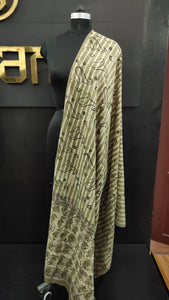Off-white and olive green color combination bagru printed Kashmiri dupatta | MC198