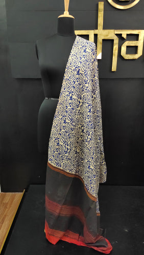 Off-white and blue color combination bagru printed Kashmiri dupatta | MC201