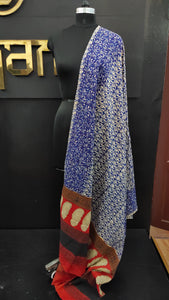 Off-white and blue color combination bagru printed Kashmiri dupatta | MC197