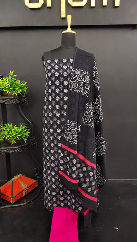 Black with pink colour block printed cotton salwar set | VFC107
