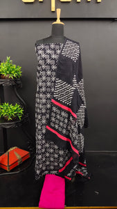 Black with pink colour block printed cotton salwar set | VFC108