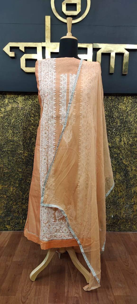Light peach color chanderi salwar set with lucknowi embroidery | MK127 - Aham Designer Boutique