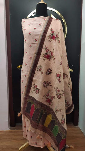 Peach color embroidered linen salwar set with floral embroidery | JCL144 - Aham Designer Boutique
