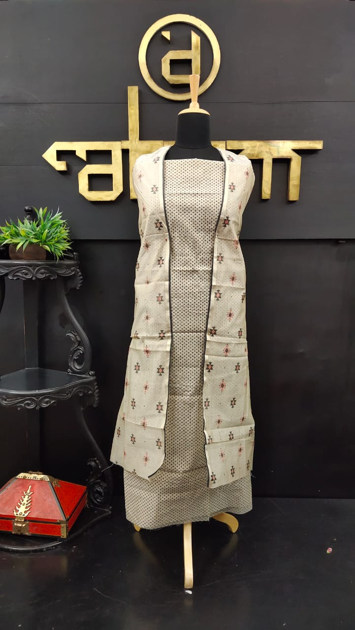 Golden cream color printed kurtha materials | Two @ 1500 | SS441