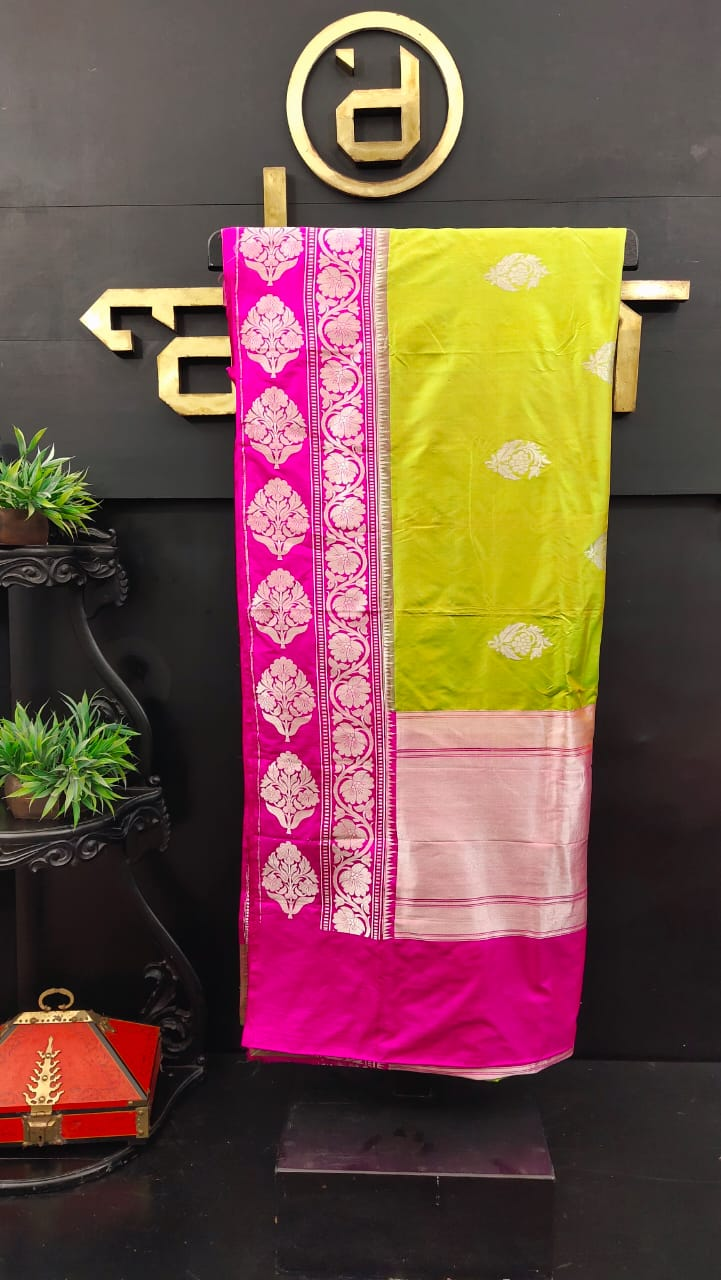 Pista green and pink color combination banarasi saree | JCL279