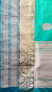 Teal green color combination banarasi saree | JCL281