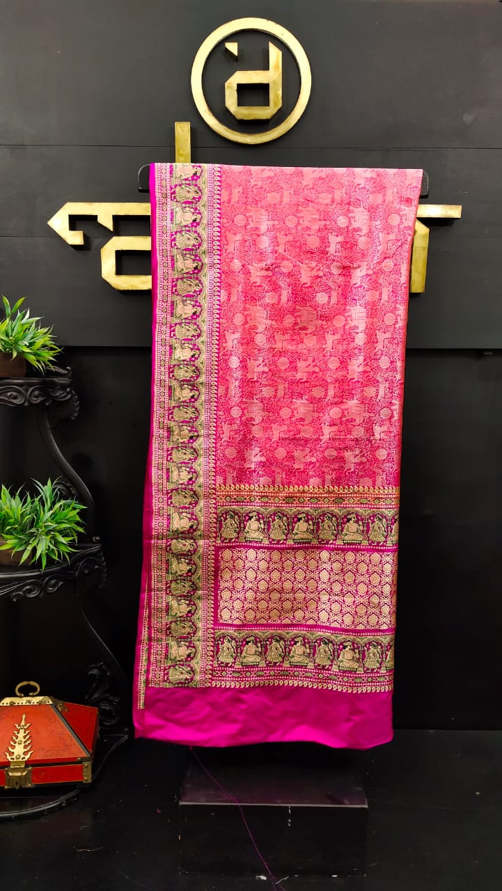 Peach and pink color combination banarasi saree | JCL280