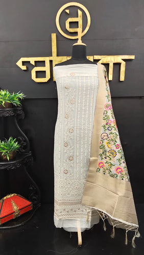 Off-white color georgette-lucknowi salwar set with off-white color banarasi woven dupatta | JCL286