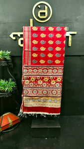 Brick red color semi linen saree  | PF365