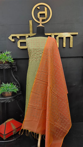 Olive green and peach color semi tussar salwar set | ACT130