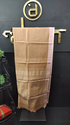 Golden brown color synthetic organza saree with sequence work | PF483