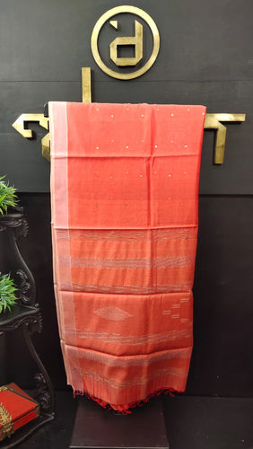 Peach-orange color synthetic organza saree with sequence work | PF482