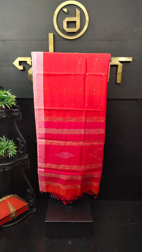 Reddish-orange color synthetic organza saree with sequence work | PF484