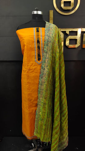 Orange color patch-work dupatta with kantha work embroidery | SW354