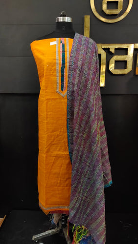 Orange color patch-work dupatta with kantha work embroidery | SW353