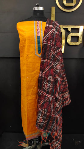 Orange color patch-work dupatta with kantha work embroidery | SW347