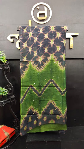 Black and green color combination tie and dye kota saree | SF203