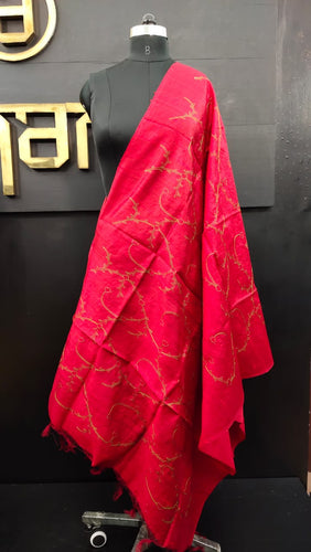 Maroonish red color dupion silk dupatta | GT125