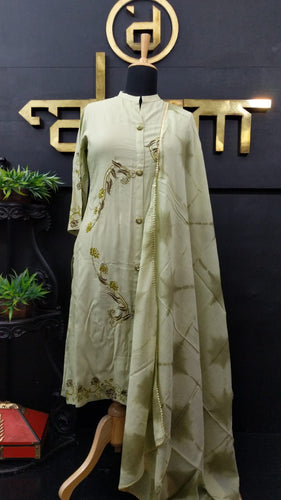 Olive green color embroidered rayon palazzo set | CS129
