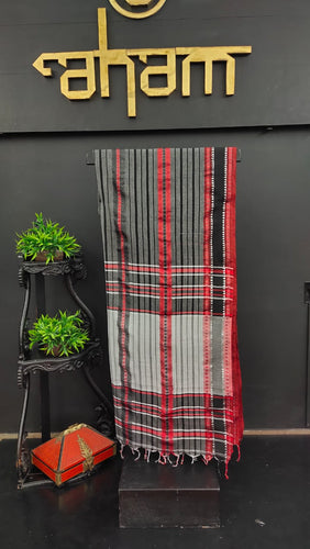 Grey with red & black combination khadi cotton saree | AB102