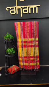 Red and yellow combination khadi cotton saree | AB105