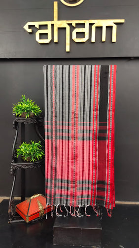 Grey with red & black combination khadi cotton saree | AB107