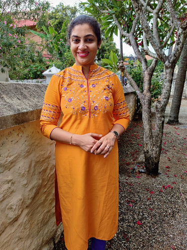 Orange-yellow color embroidered cotton-silk kurtha material | UNSTITCHED | DN126