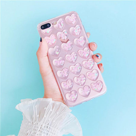 Glitter 3D Hearts iPhone Case