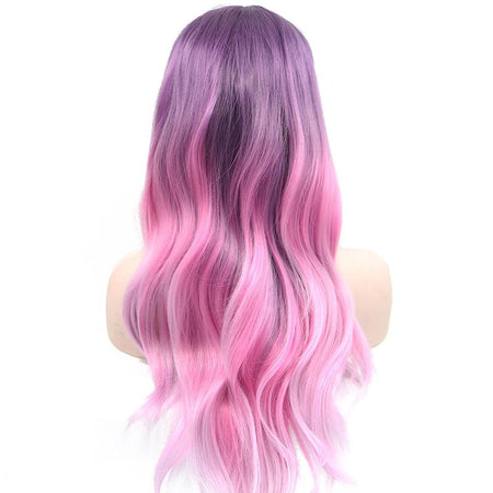 Purple to Pink Ombré Long Lace Front Wig
