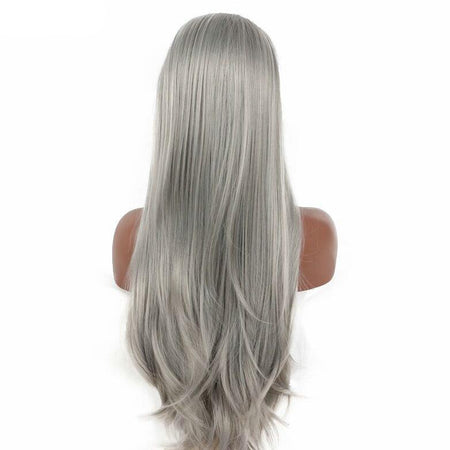 Gunmetal Straight Long  Lace Front Wig