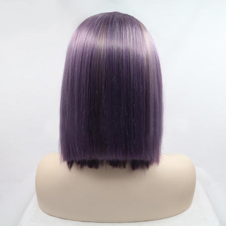 Blonde to Purple Ombré Short Lace Front Wig