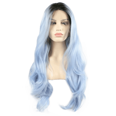 Ice Blue Wavy Long Lace Front Wig