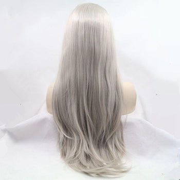 Silver Straight Long Lace Front Wig
