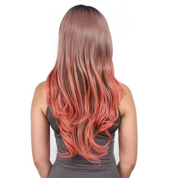 Blood Orange Ombré Wavy Long Lace Front Wig