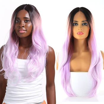 Black to Lavender Ombré Long Lace Front Wig